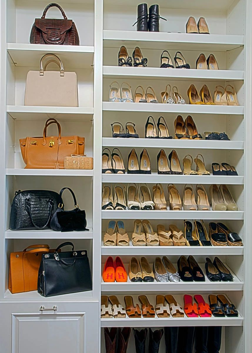 Custom closet purse organizer by The Couture Closet in Dallas