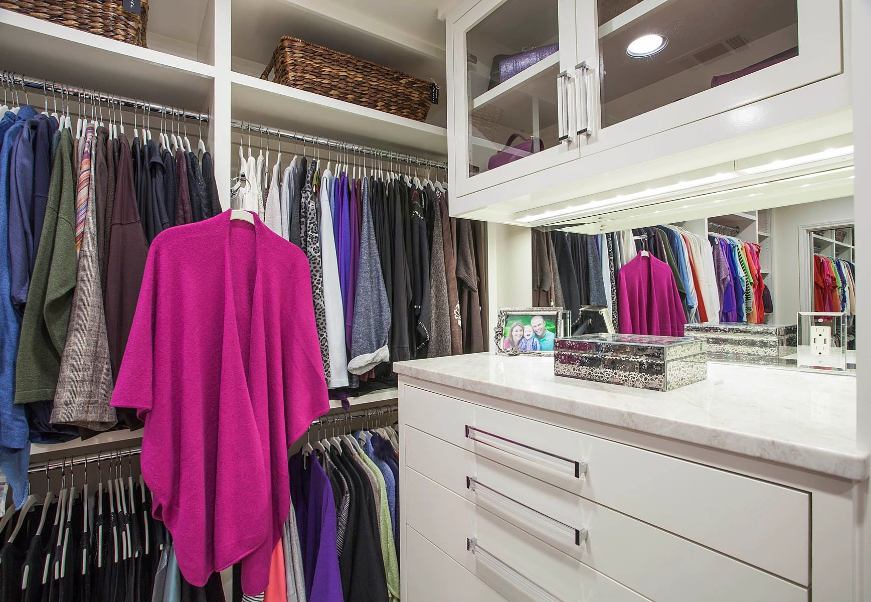 Master closet in Fort Worth designed by Kathleen Jacobson