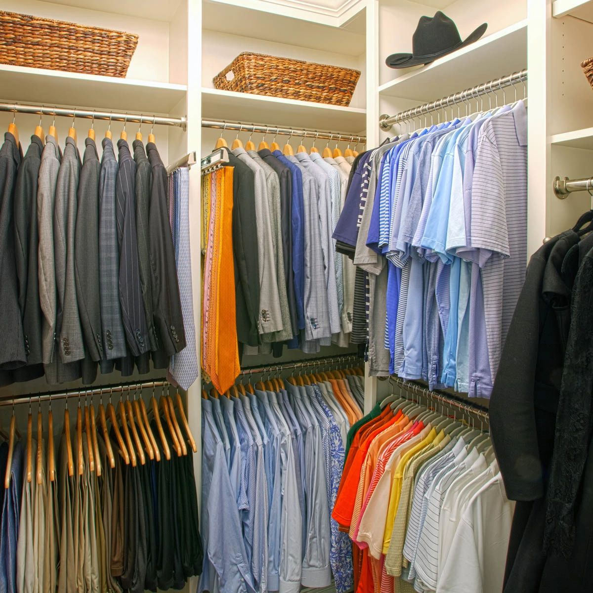 Men's wardrobe professionally organized in this Highland Park closet