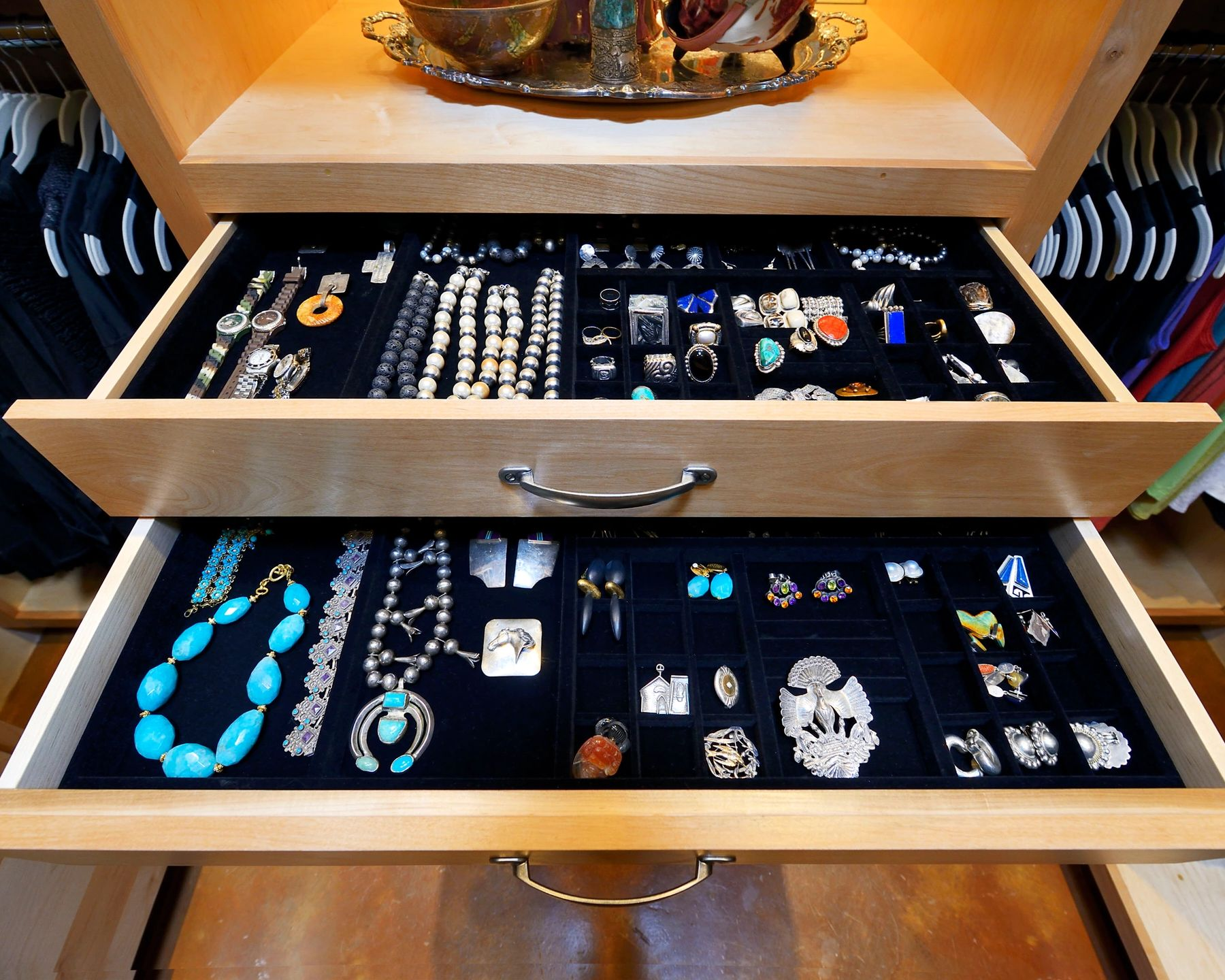Jewelry shelf design at a home in Dallas, TX