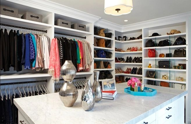 A beautifully organized master closet in dallas
