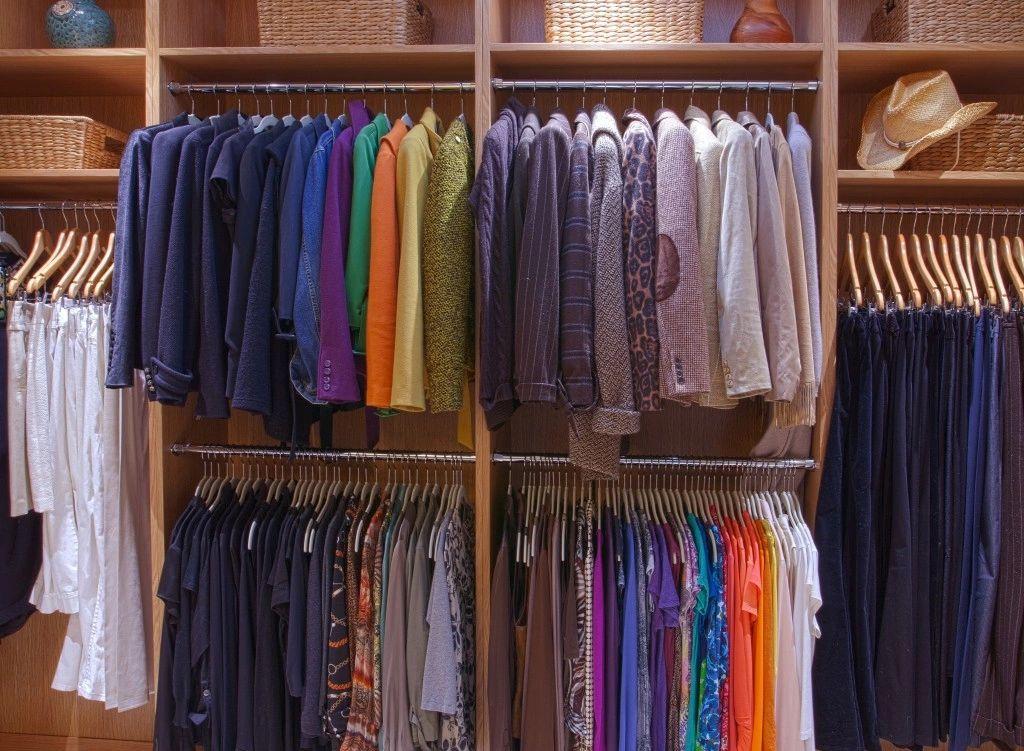 Walk-in closet showing functional matching hangers