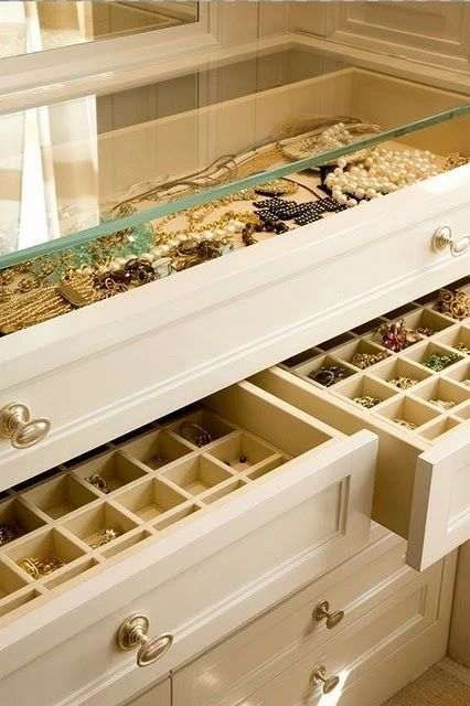 Closet jewelry case with inset trays