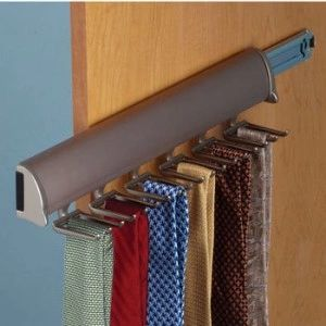 Pull out belt and tie racks help organize any closet